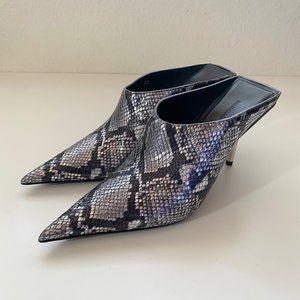 $1015 Balenciaga Metal Heels Snake Print Mule